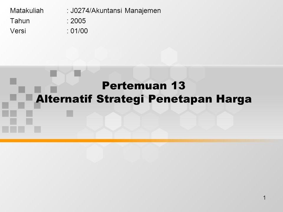 Pertemuan 13 Alternatif Strategi Penetapan Harga