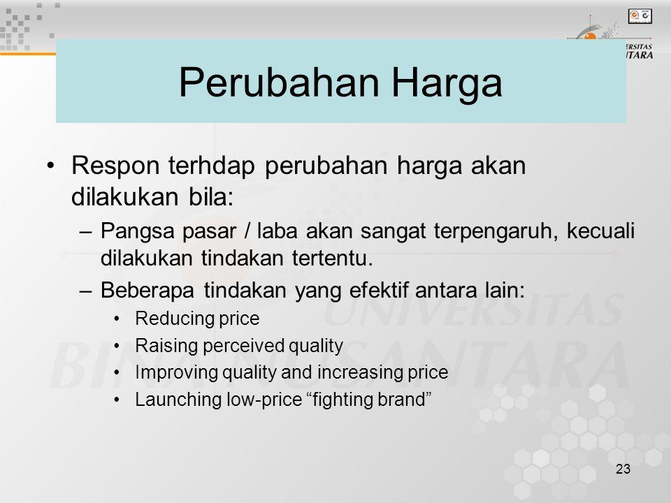 Perubahan Harga Respon terhdap perubahan harga akan dilakukan bila: