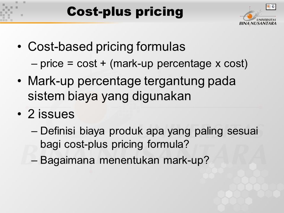 Cost-based pricing formulas