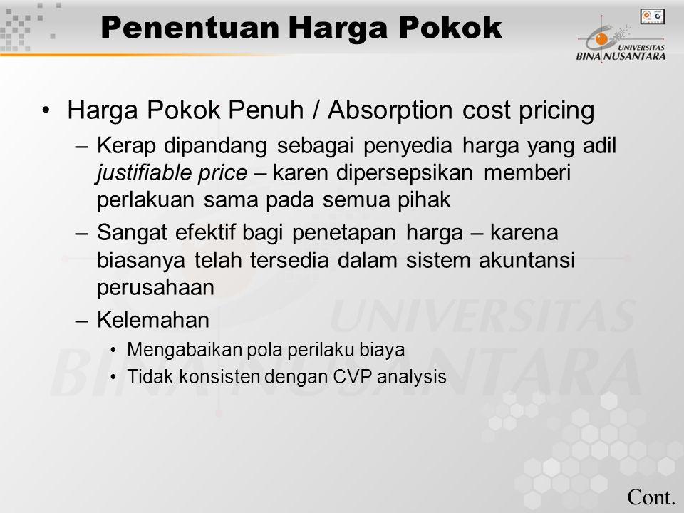 Penentuan Harga Pokok Harga Pokok Penuh / Absorption cost pricing