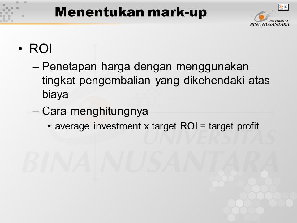 Menentukan mark-up ROI