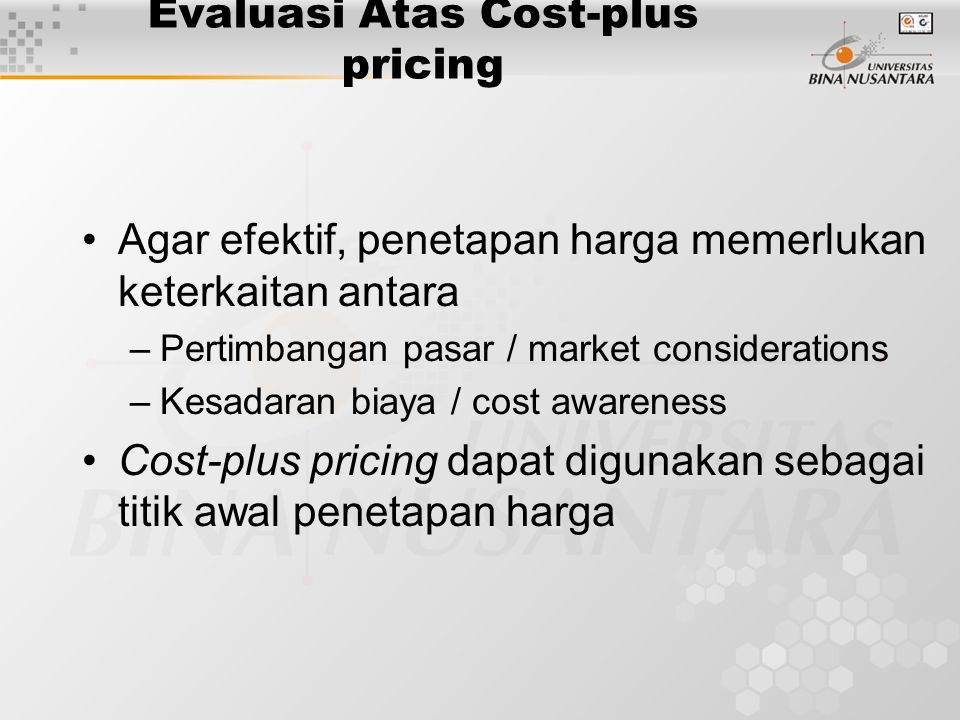 Evaluasi Atas Cost-plus pricing