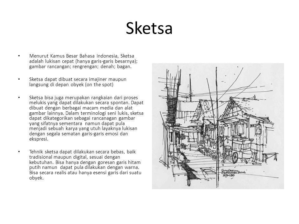 Sketsa Menurut Kamus Besar Bahasa Indonesia, Sketsa adalah lukisan cepat (hanya garis-garis besarnya); gambar rancangan; rengrengan; denah; bagan.