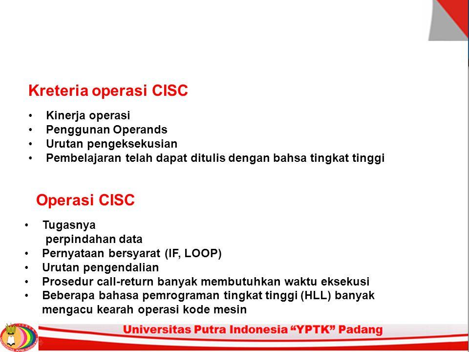 Kreteria operasi CISC Operasi CISC Kinerja operasi Penggunan Operands