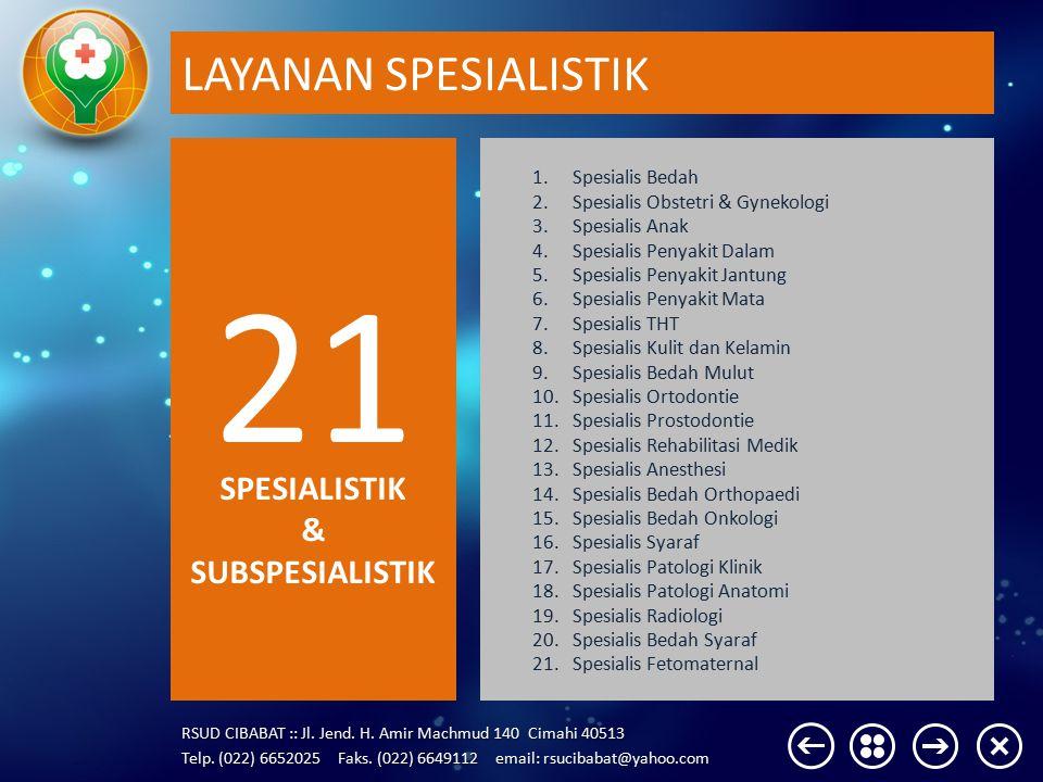 21 LAYANAN SPESIALISTIK SPESIALISTIK & SUBSPESIALISTIK Spesialis Bedah