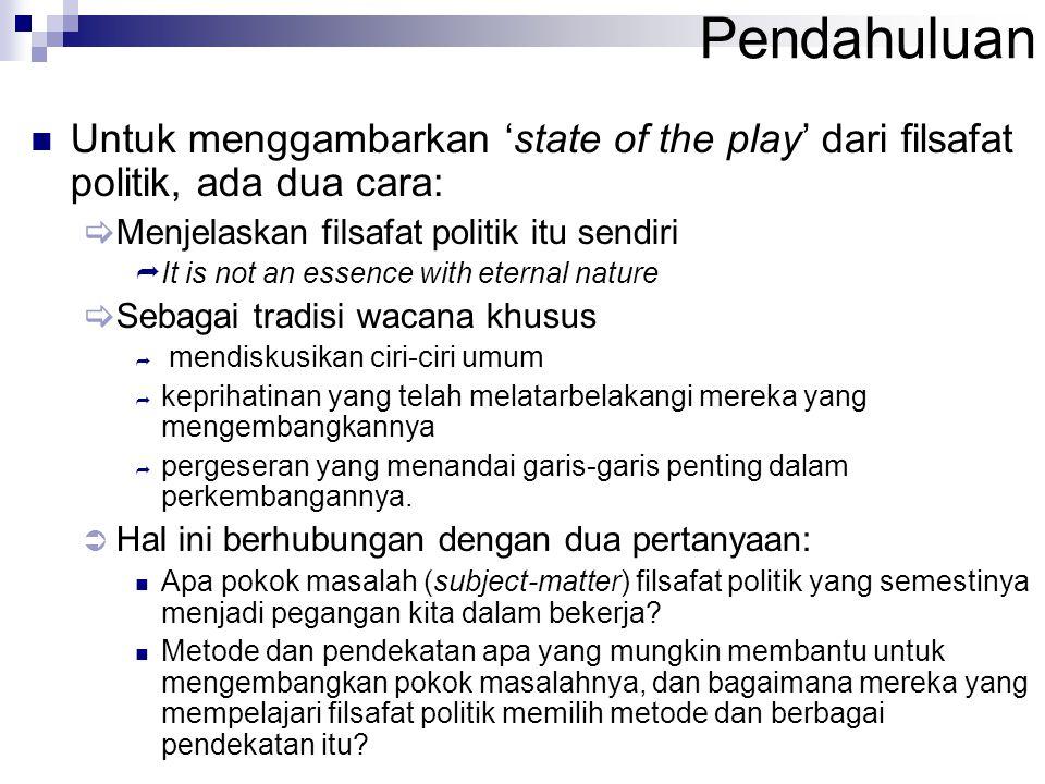 Pendahuluan Untuk menggambarkan 'state of the play' dari filsafat politik, ada dua cara: Menjelaskan filsafat politik itu sendiri.
