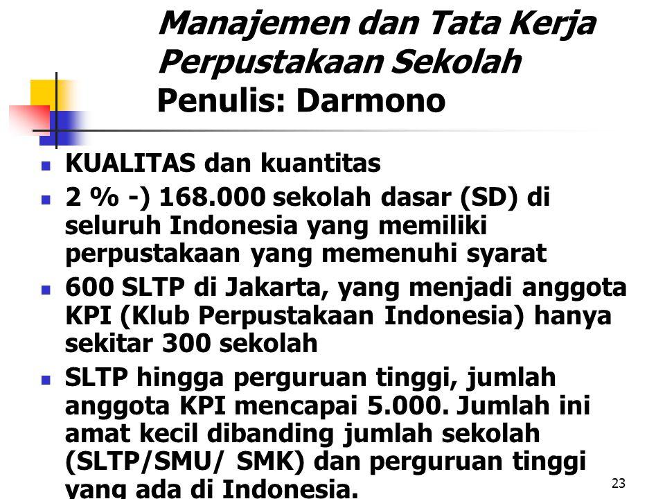 Manajemen dan Tata Kerja Perpustakaan Sekolah Penulis: Darmono