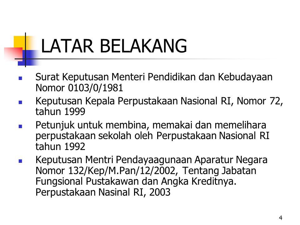 LATAR BELAKANG Surat Keputusan Menteri Pendidikan dan Kebudayaan Nomor 0103/0/1981. Keputusan Kepala Perpustakaan Nasional RI, Nomor 72, tahun 1999.