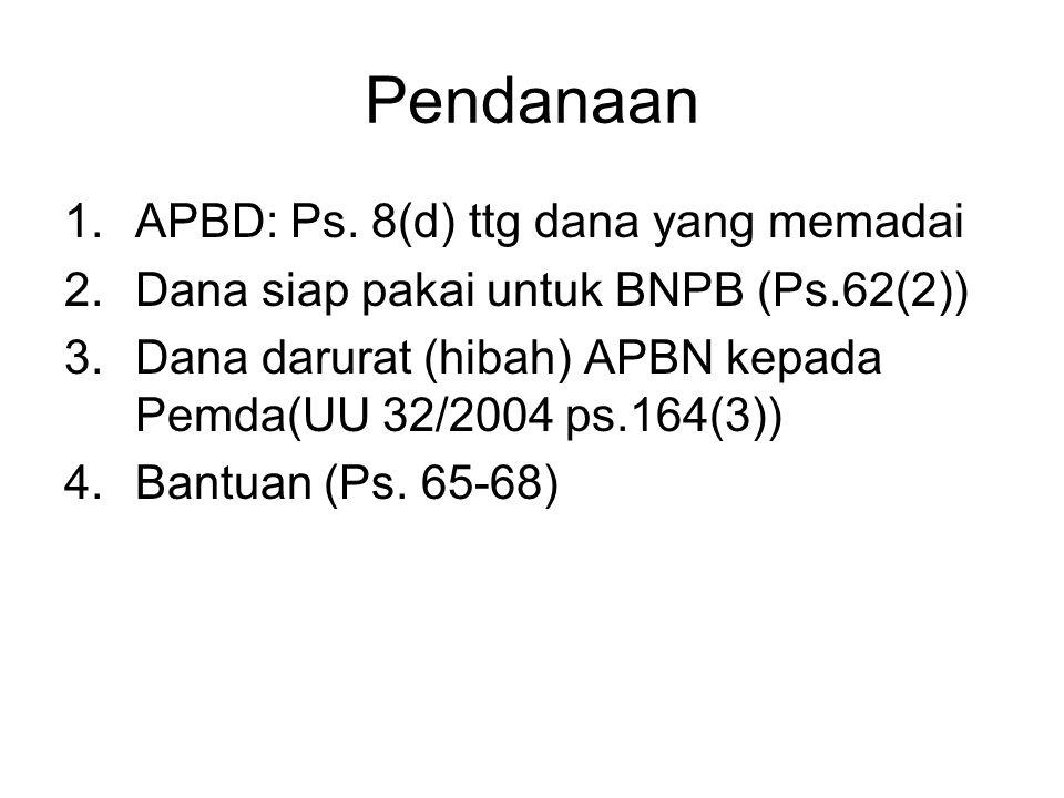 Pendanaan APBD: Ps. 8(d) ttg dana yang memadai