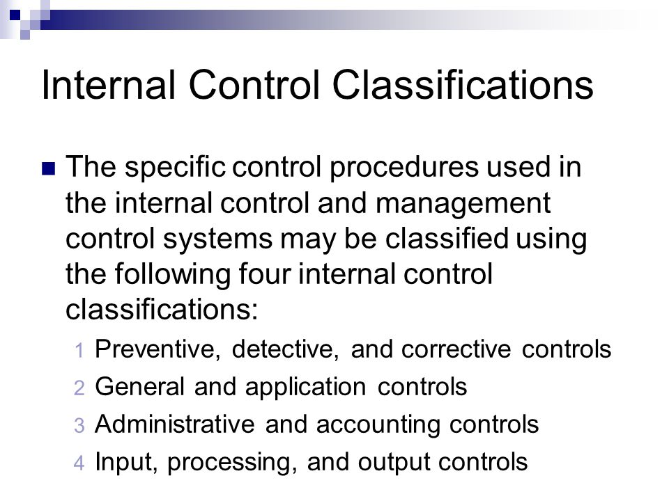 Internal Control Classifications