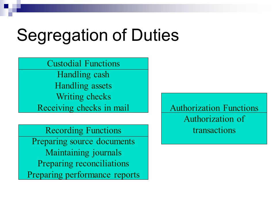 Segregation of Duties Custodial Functions Handling cash