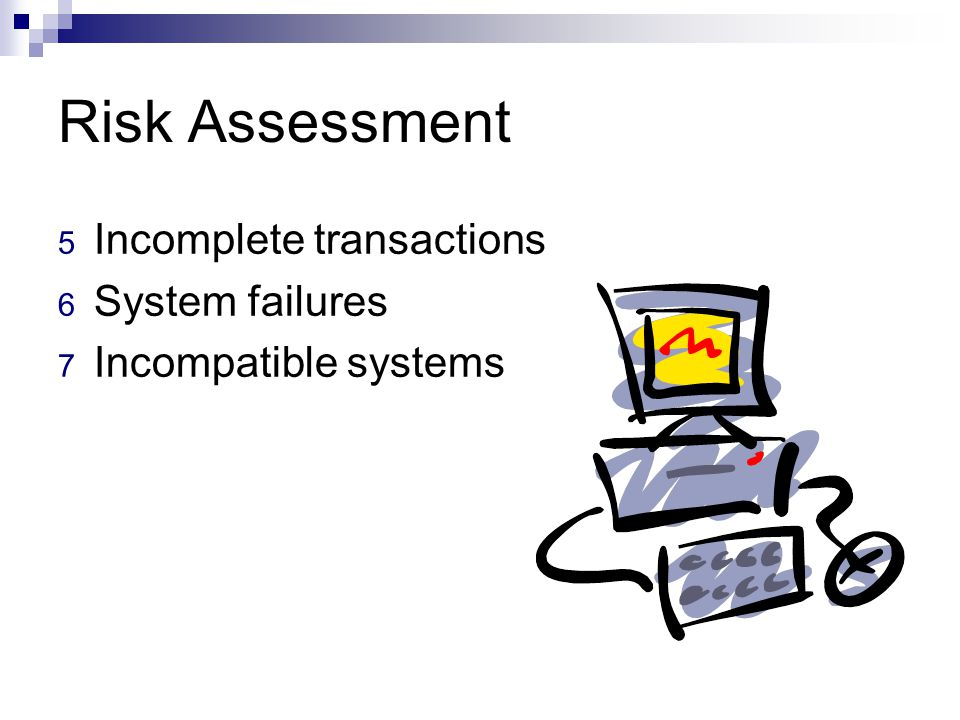Risk Assessment Incomplete transactions System failures