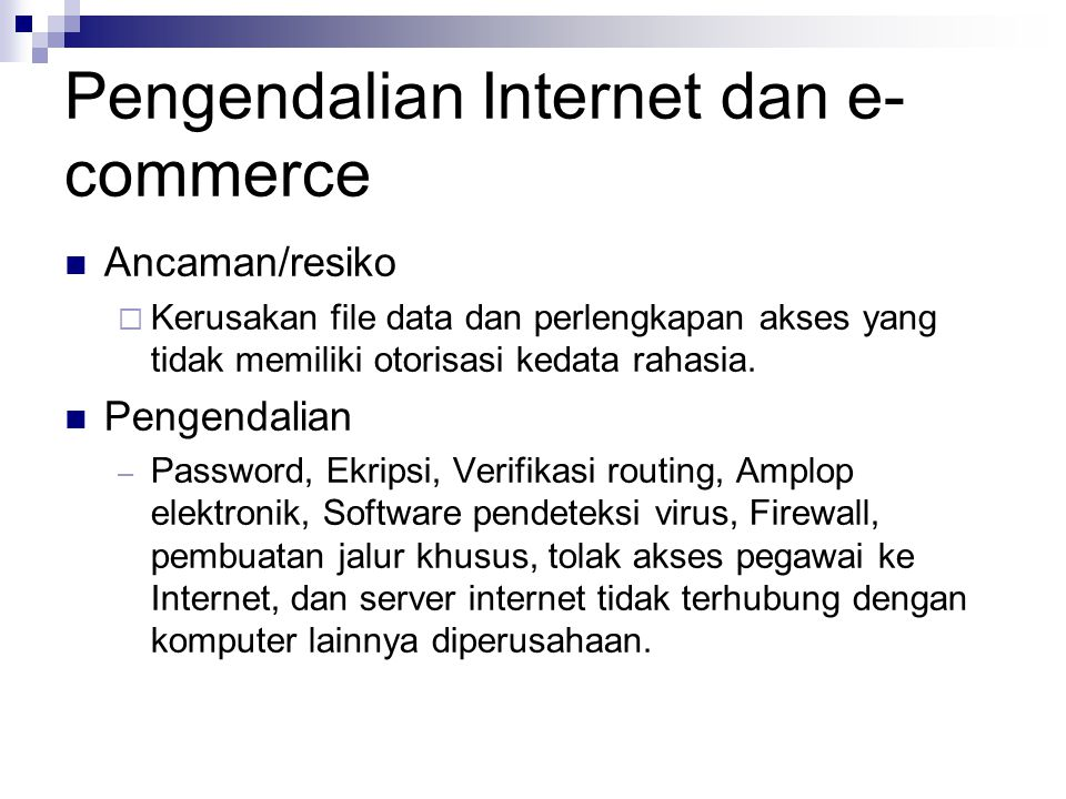 Pengendalian Internet dan e-commerce