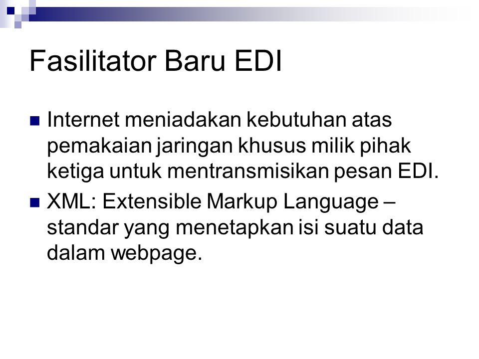 Fasilitator Baru EDI Internet meniadakan kebutuhan atas pemakaian jaringan khusus milik pihak ketiga untuk mentransmisikan pesan EDI.