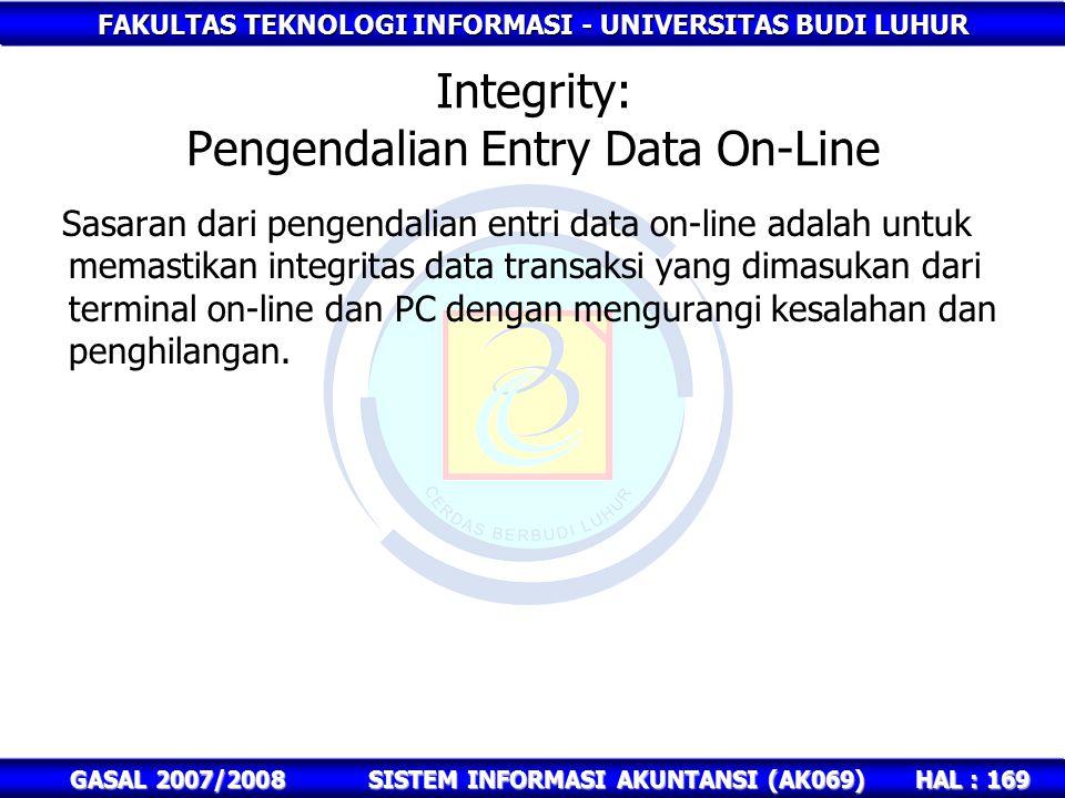 Integrity: Pengendalian Entry Data On-Line