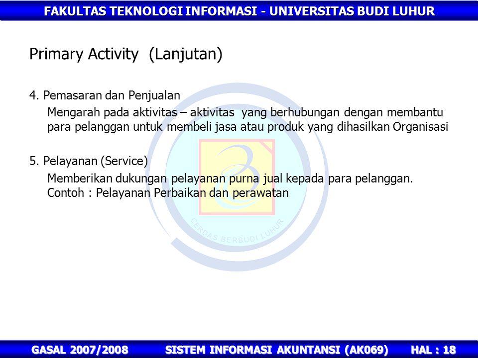 Primary Activity (Lanjutan)