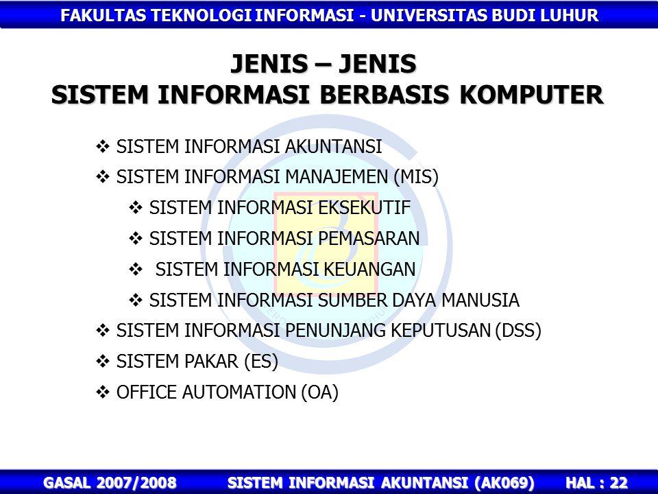 SISTEM INFORMASI BERBASIS KOMPUTER SISTEM INFORMASI AKUNTANSI (AK069)