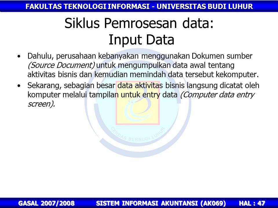 Siklus Pemrosesan data: Input Data