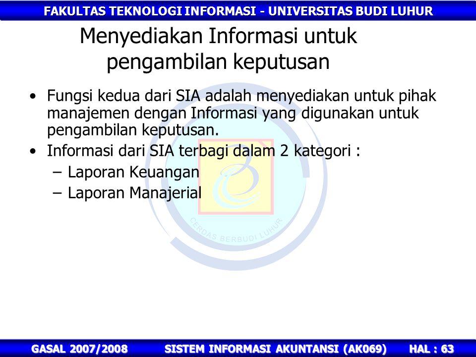 Menyediakan Informasi untuk pengambilan keputusan