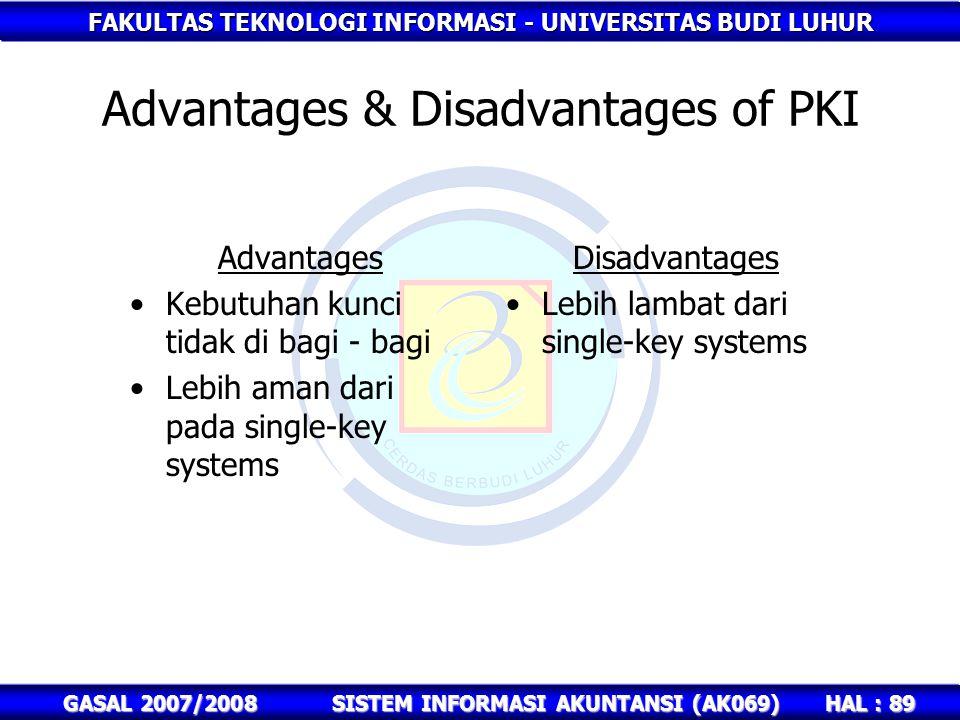 Advantages & Disadvantages of PKI