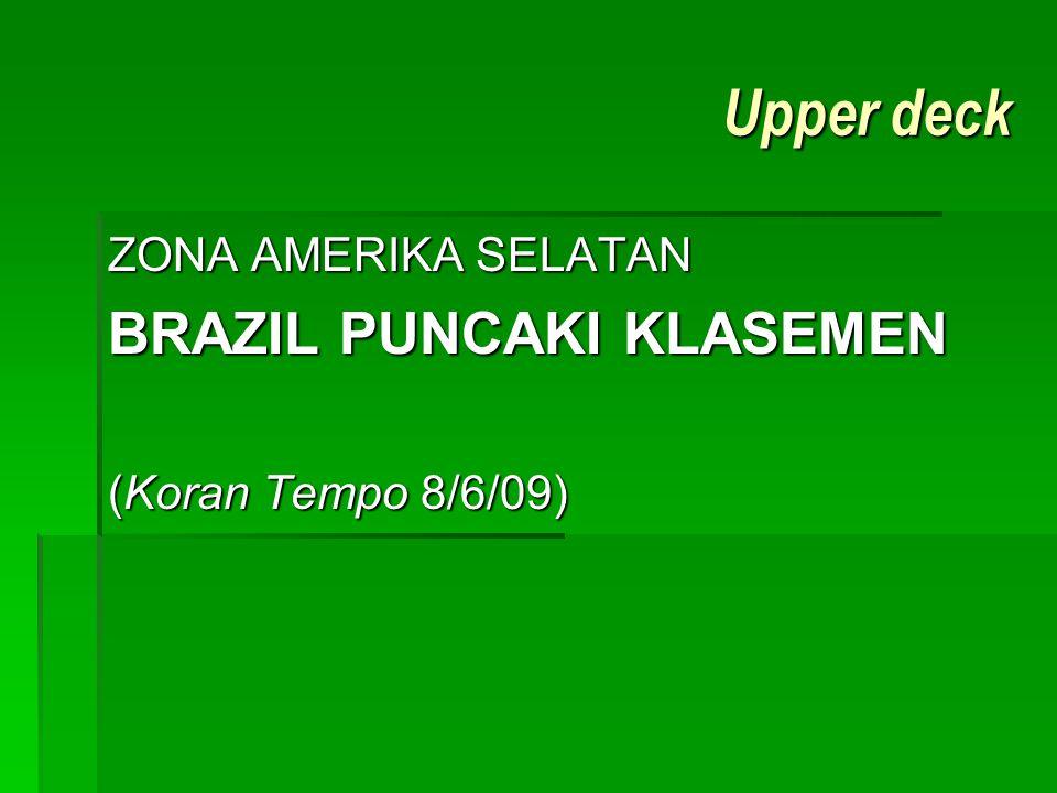 Upper deck BRAZIL PUNCAKI KLASEMEN ZONA AMERIKA SELATAN