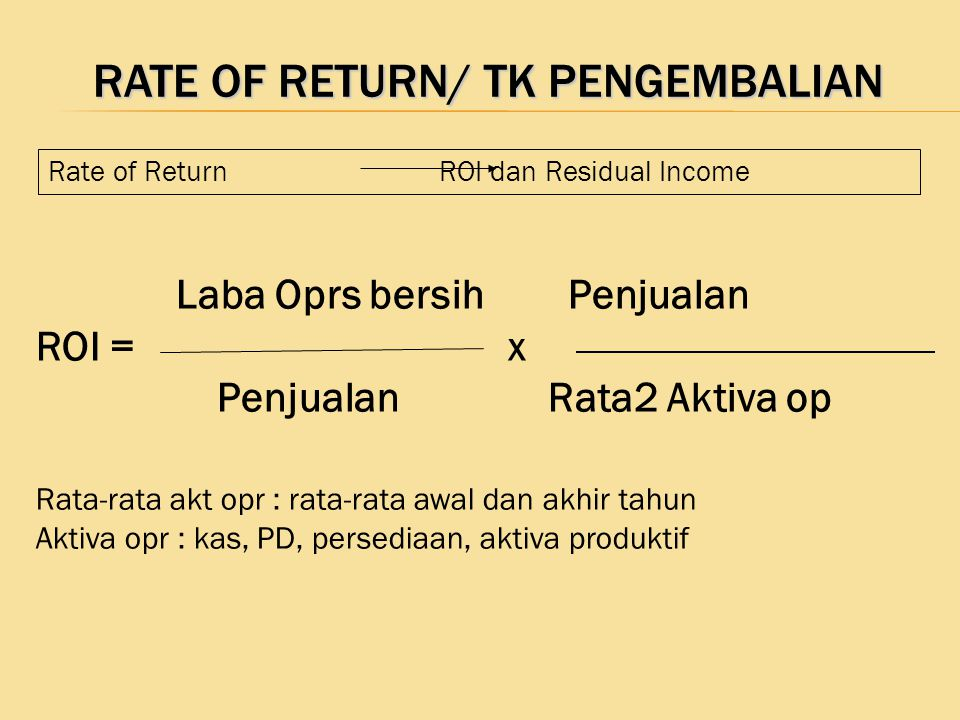 Rate of Return/ TK Pengembalian