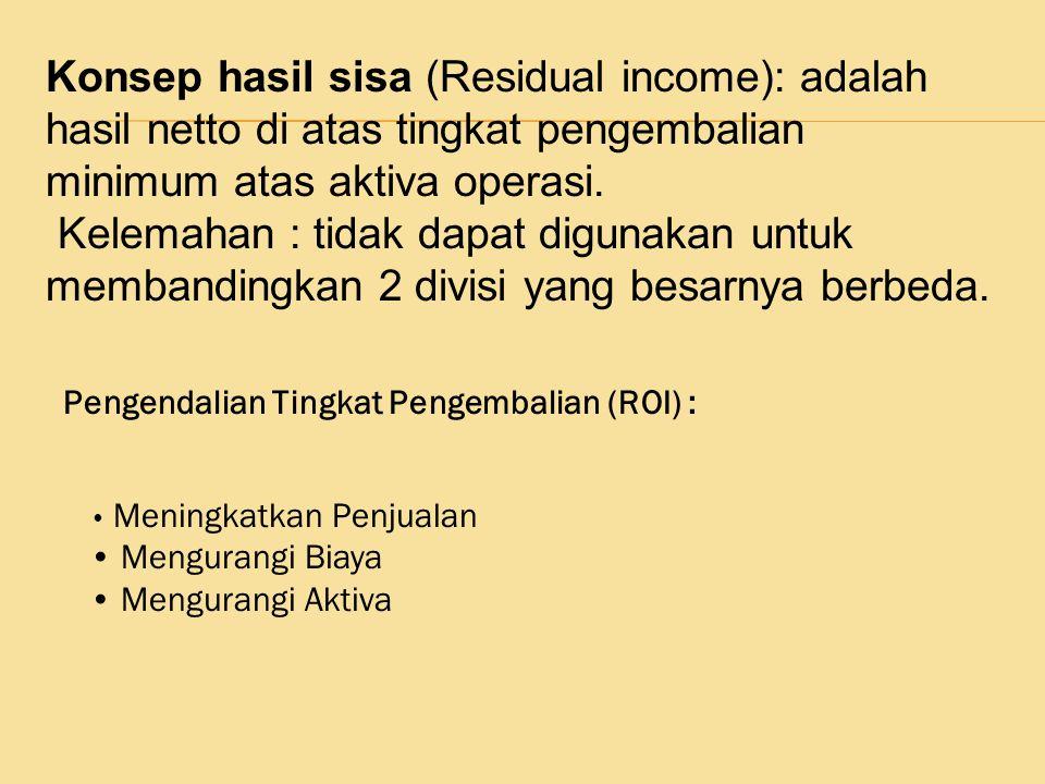 Konsep hasil sisa (Residual income): adalah hasil netto di atas tingkat pengembalian minimum atas aktiva operasi.