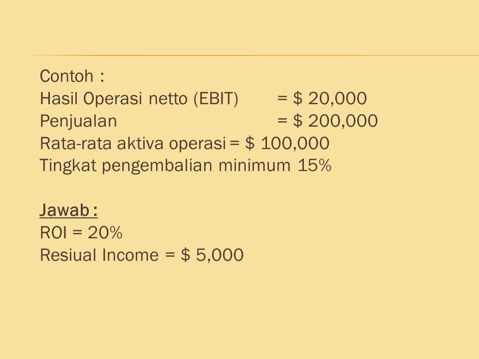 Contoh : Hasil Operasi netto (EBIT) = $ 20,000. Penjualan = $ 200,000. Rata-rata aktiva operasi = $ 100,000.