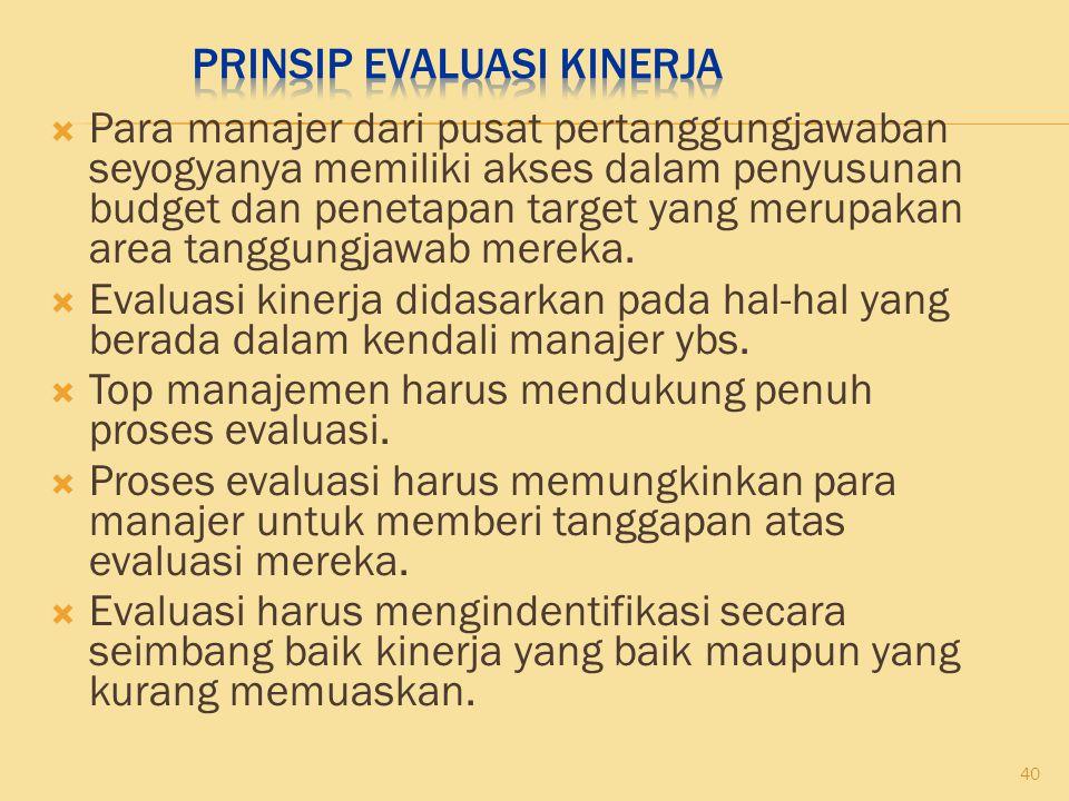 Prinsip Evaluasi Kinerja