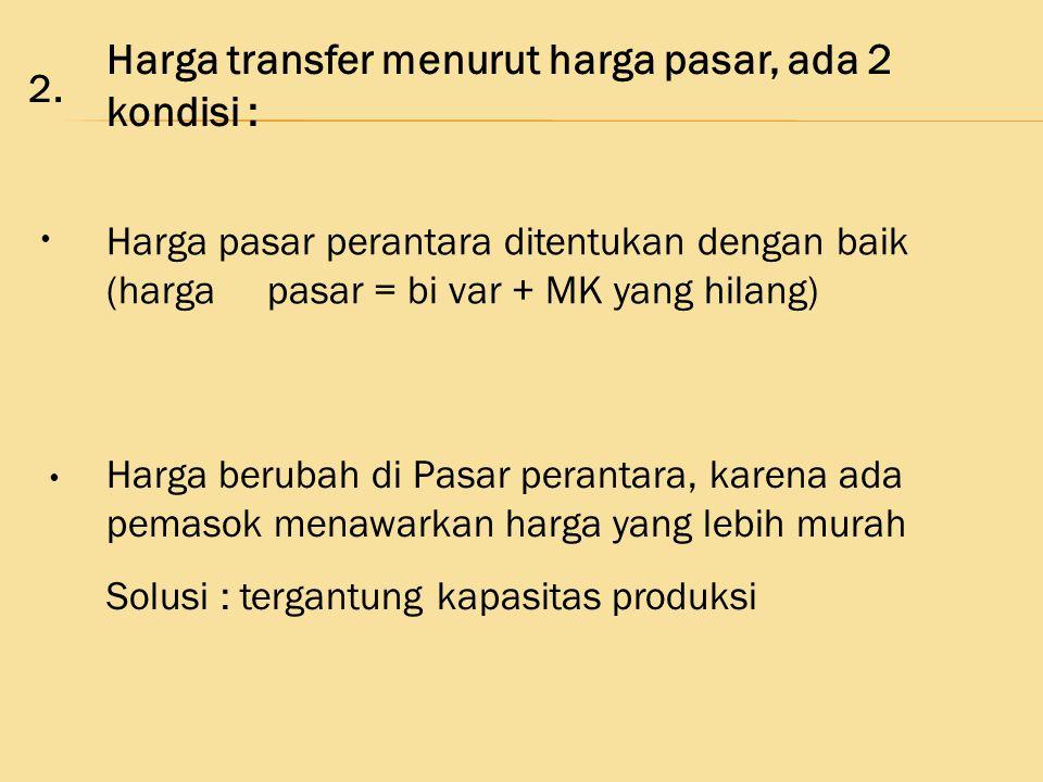 Harga transfer menurut harga pasar, ada 2 kondisi :