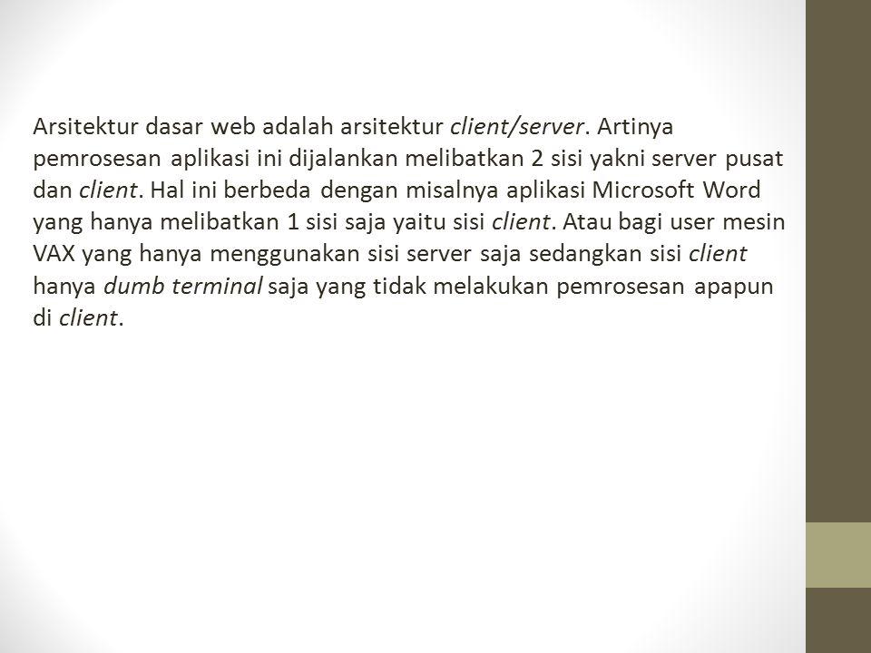 Arsitektur dasar web adalah arsitektur client/server