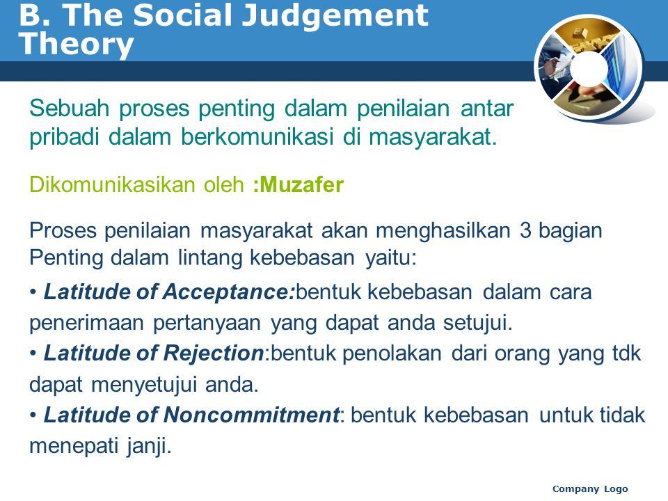 B. The Social Judgement Theory