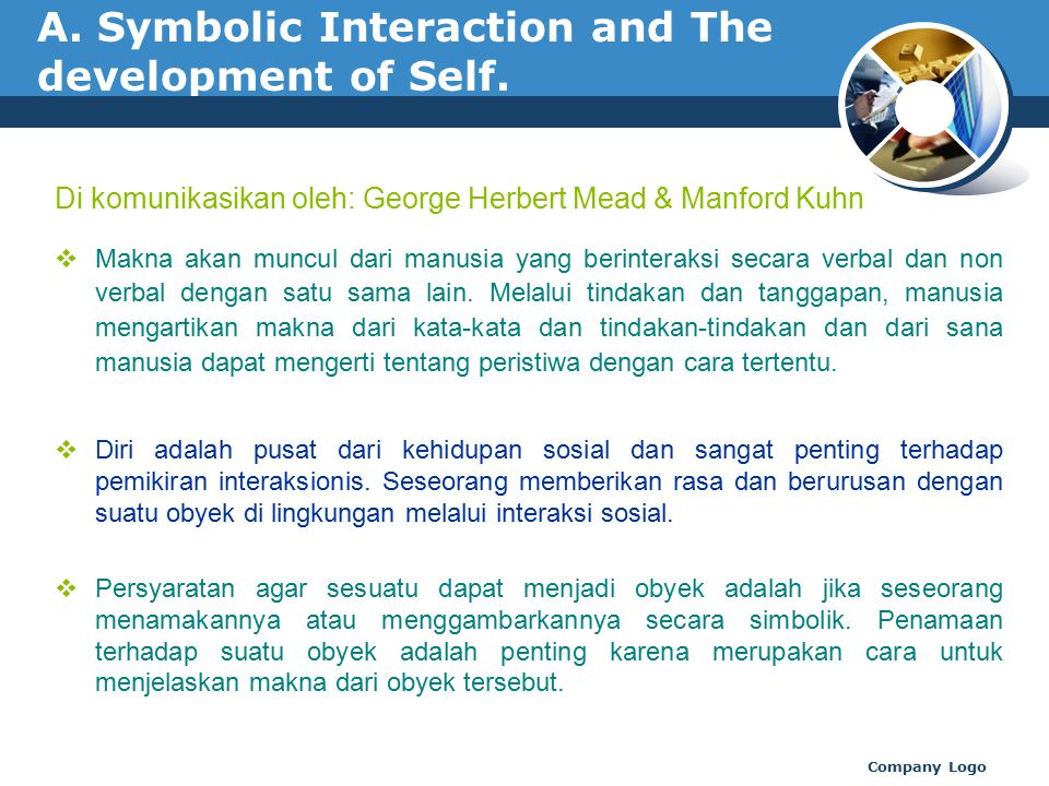 A. Symbolic Interaction and The development of Self.