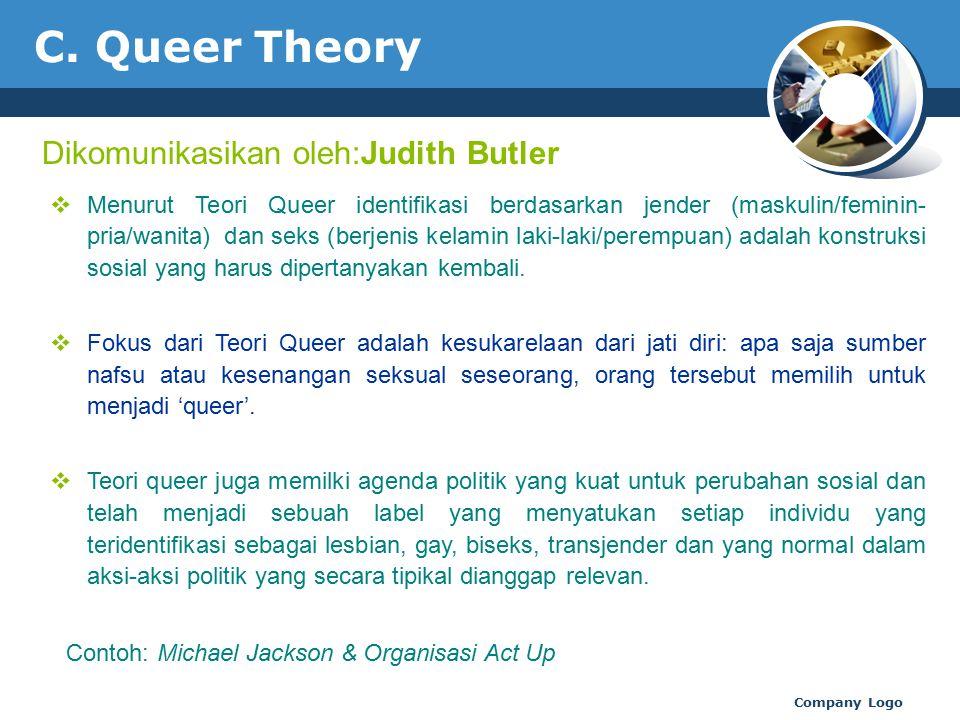 C. Queer Theory Dikomunikasikan oleh:Judith Butler