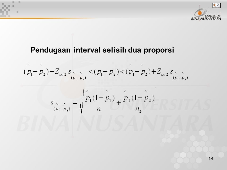 Pendugaan interval selisih dua proporsi