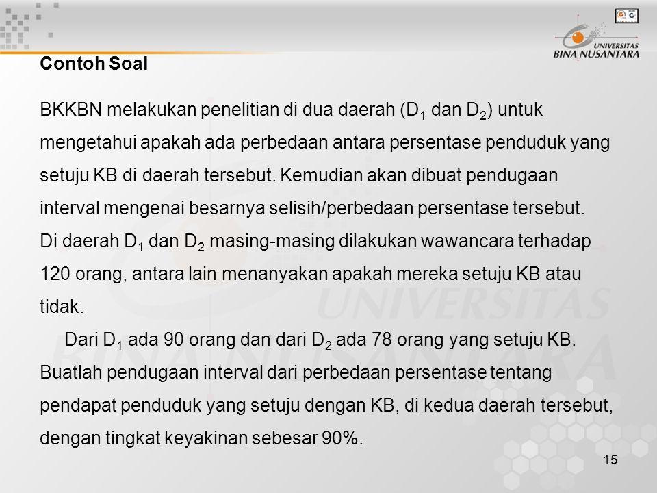 Contoh Soal BKKBN melakukan penelitian di dua daerah (D1 dan D2) untuk. mengetahui apakah ada perbedaan antara persentase penduduk yang.