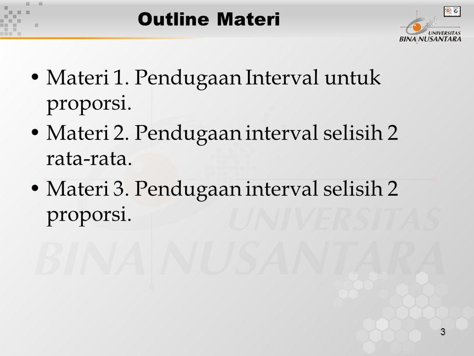 Materi 1. Pendugaan Interval untuk proporsi.