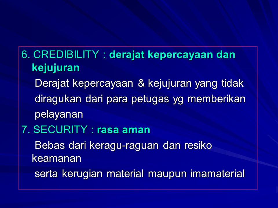 6. CREDIBILITY : derajat kepercayaan dan kejujuran