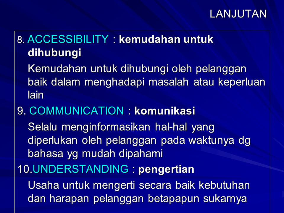 9. COMMUNICATION : komunikasi