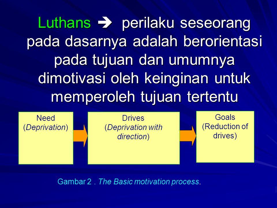 Luthans  perilaku seseorang pada dasarnya adalah berorientasi pada tujuan dan umumnya dimotivasi oleh keinginan untuk memperoleh tujuan tertentu