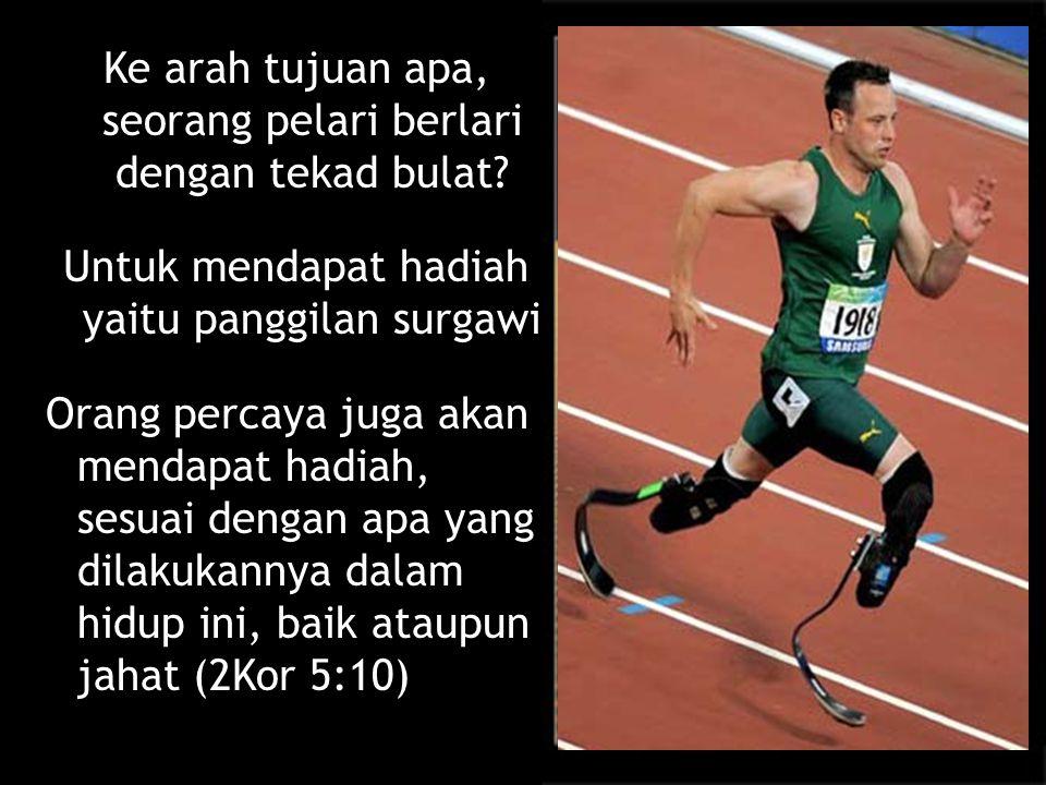 Ke arah tujuan apa, seorang pelari berlari dengan tekad bulat