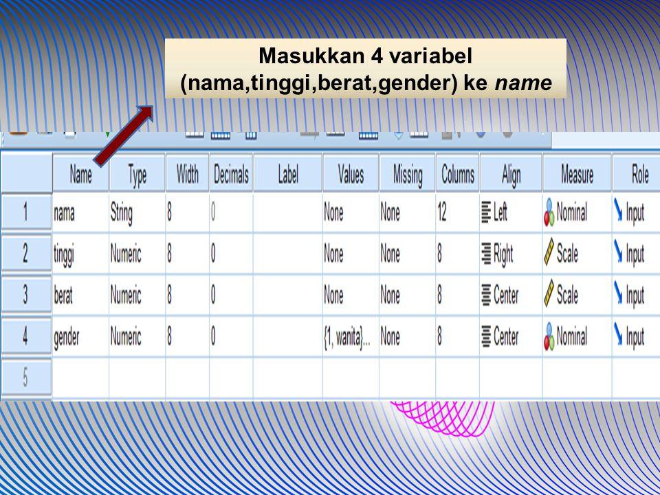 Masukkan 4 variabel (nama,tinggi,berat,gender) ke name
