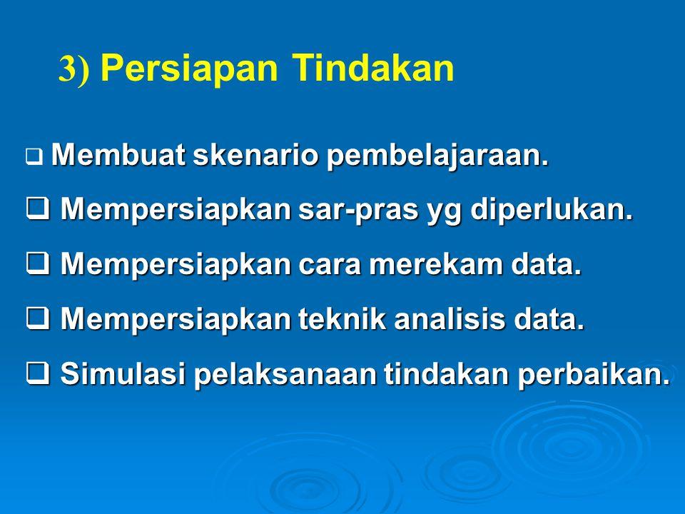 3) Persiapan Tindakan Mempersiapkan sar-pras yg diperlukan.