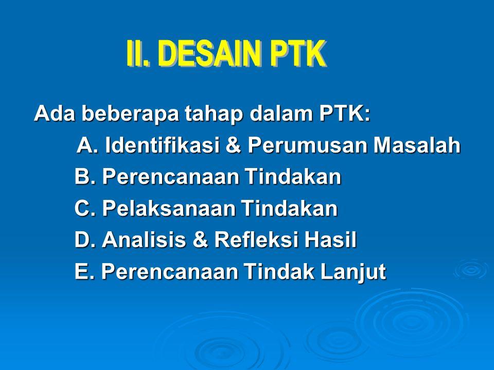 Ada beberapa tahap dalam PTK: A. Identifikasi & Perumusan Masalah