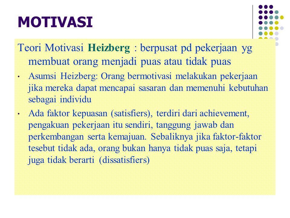 MOTIVASI Teori Motivasi Heizberg : berpusat pd pekerjaan yg membuat orang menjadi puas atau tidak puas.