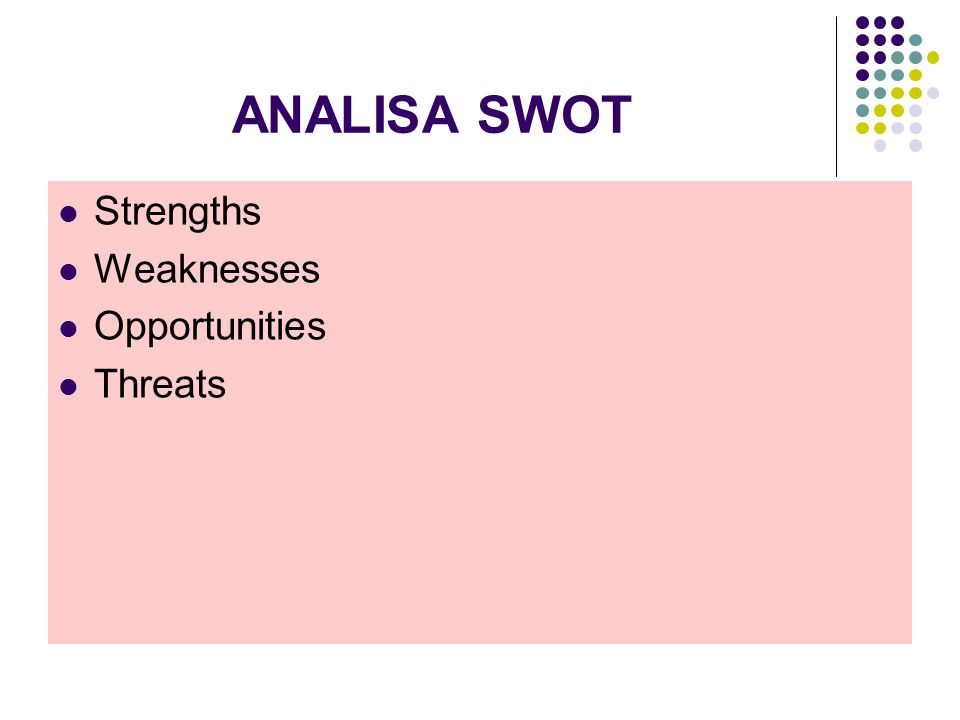 ANALISA SWOT Strengths Weaknesses Opportunities Threats