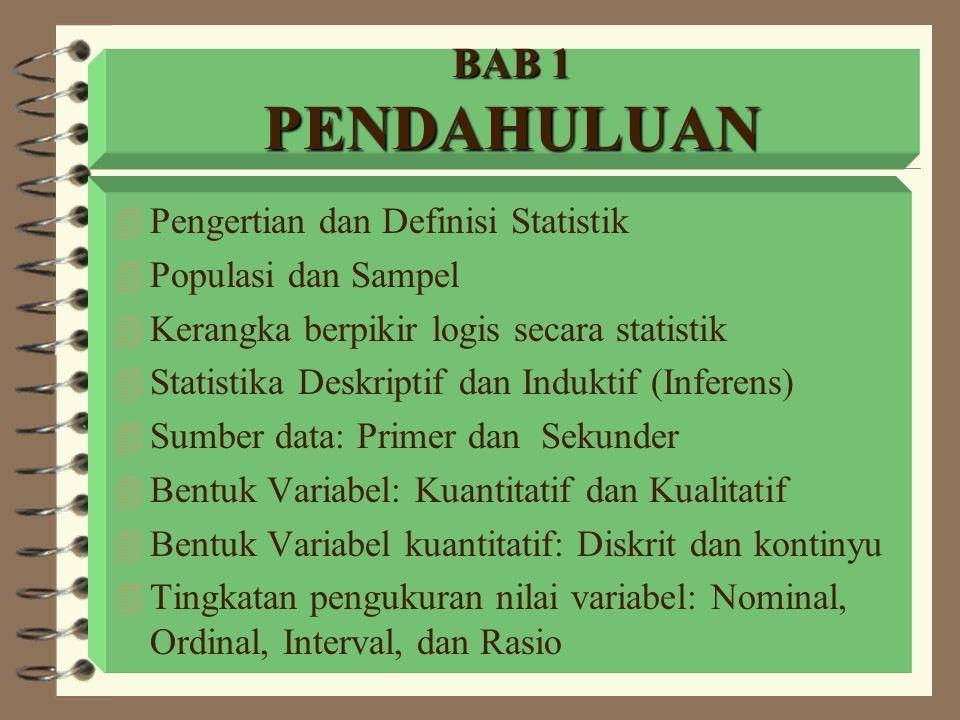 BAB 1 PENDAHULUAN Pengertian dan Definisi Statistik