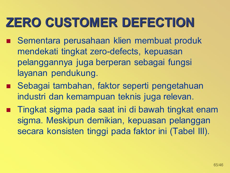 ZERO CUSTOMER DEFECTION