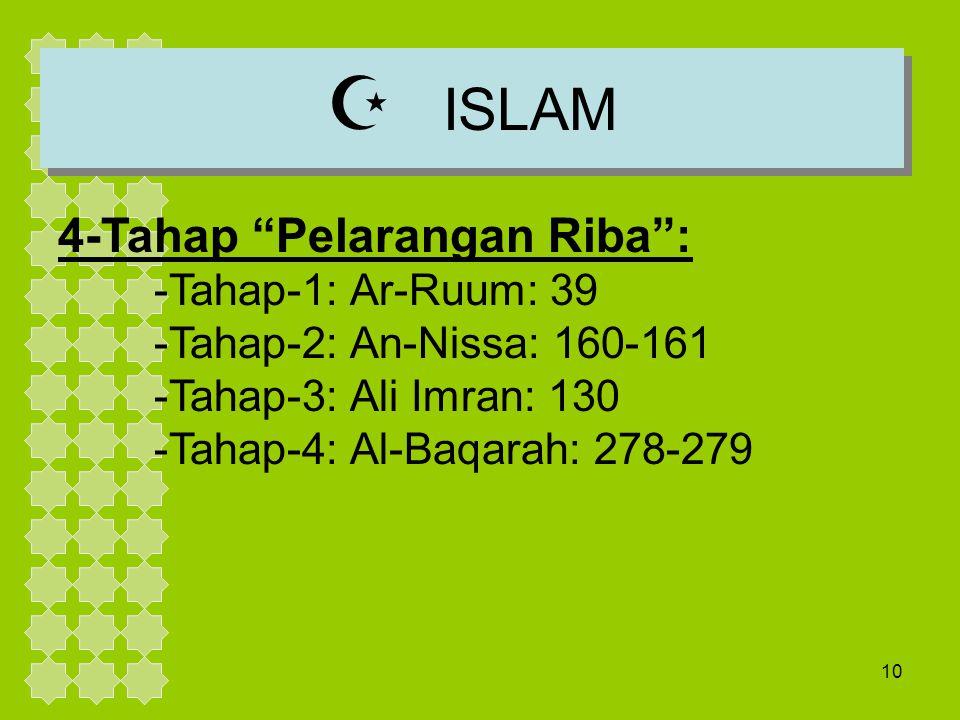 ISLAM 4-Tahap Pelarangan Riba : -Tahap-1: Ar-Ruum: 39