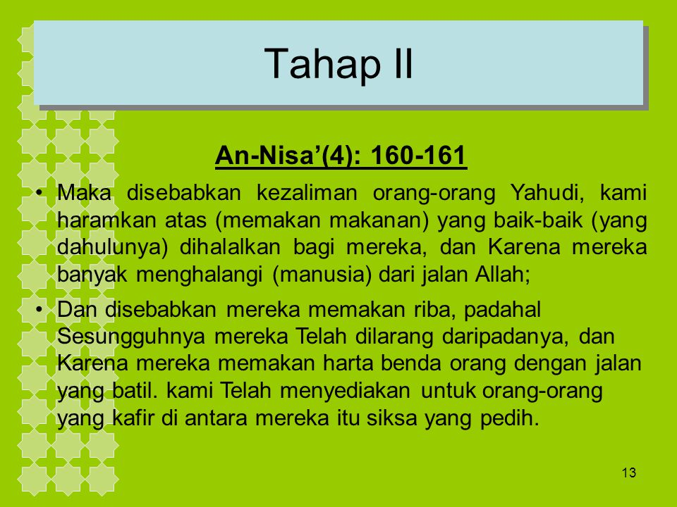 Tahap II An-Nisa'(4): 160-161.